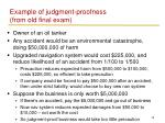 example of judgment proofness from old final exam