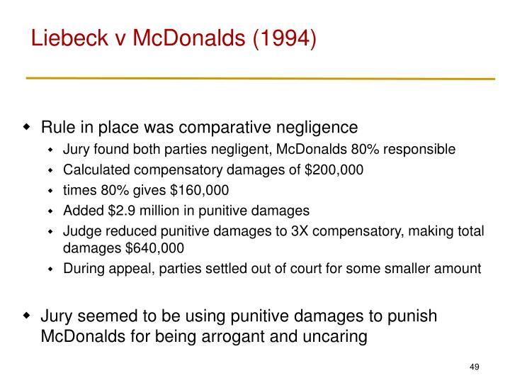 Liebeck v McDonalds (1994)