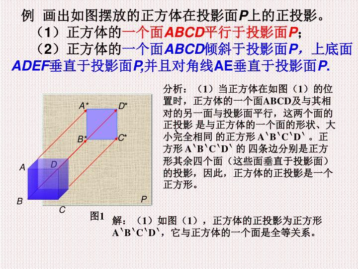 例  画出如图摆放的正方体在投影面