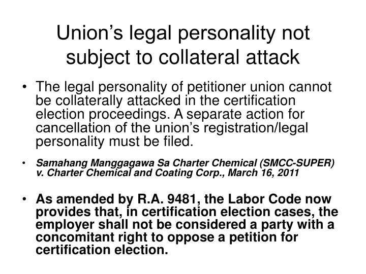 Union's legal personality not subject to collateral attack