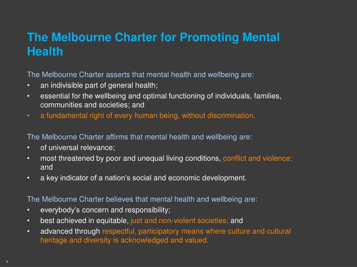 The Melbourne Charter for Promoting Mental Health