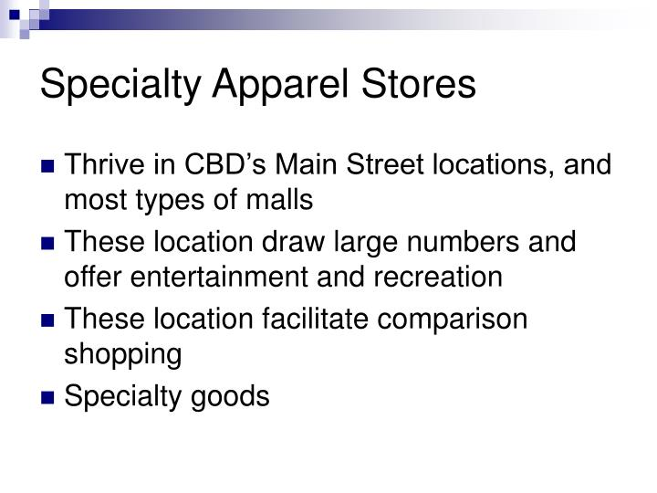 Specialty Apparel Stores