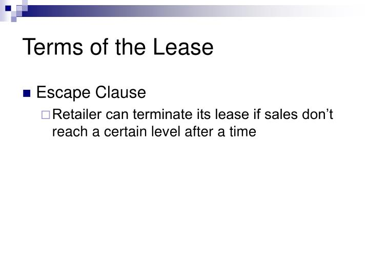 Terms of the Lease