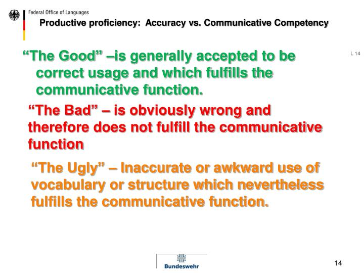 Productive proficiency:  Accuracy vs. Communicative Competency