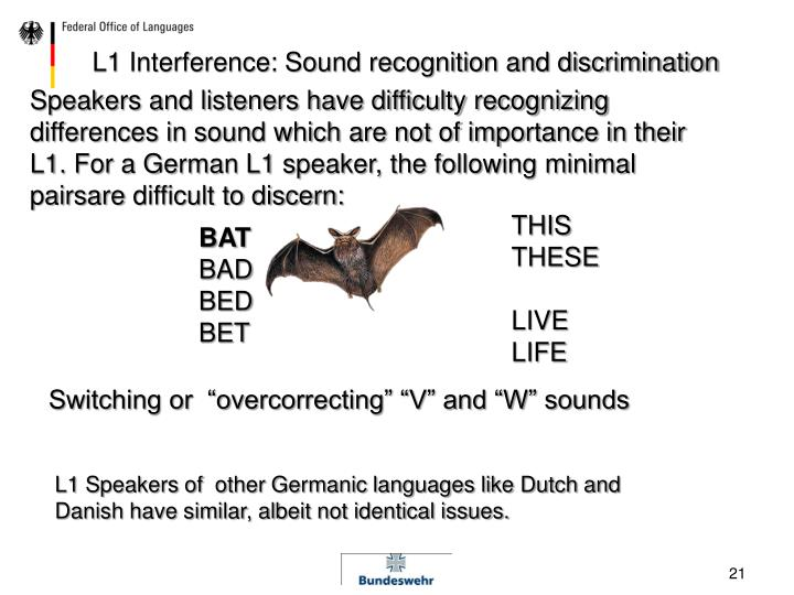 L1 Interference: Sound recognition and discrimination