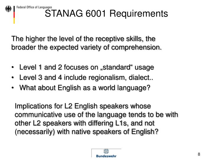 STANAG 6001 Requirements