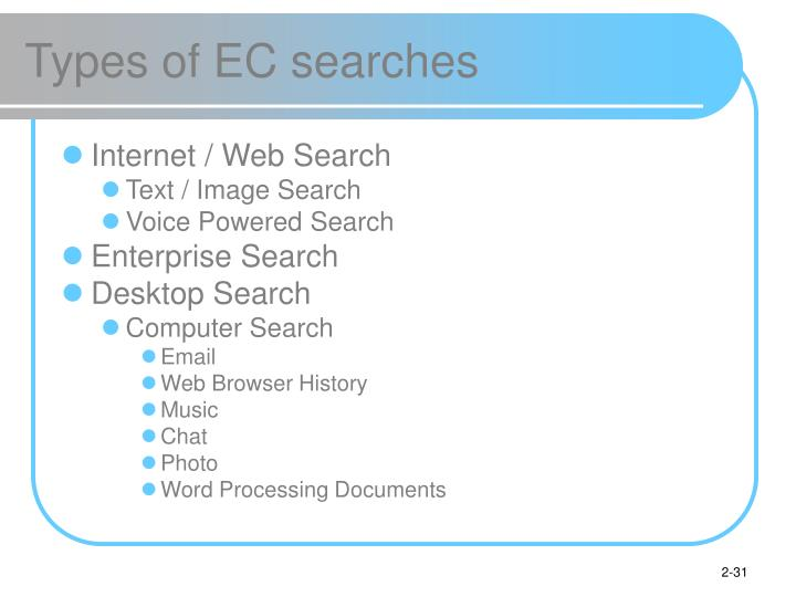 Types of EC searches