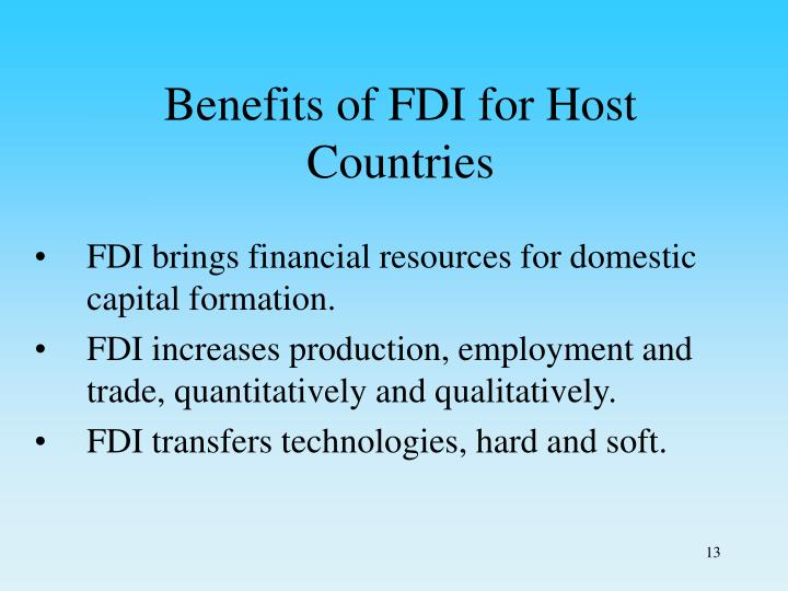 Benefits of FDI for Host Countries