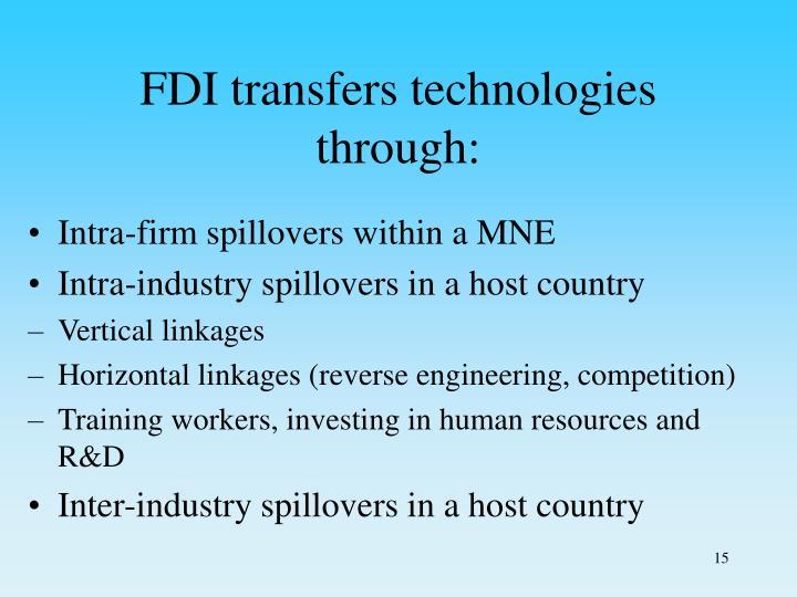 FDI transfers technologies through:
