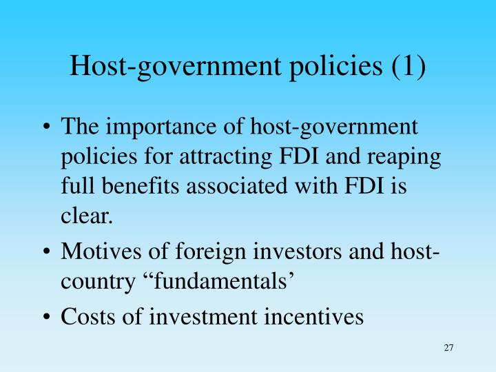 Host-government policies (1)