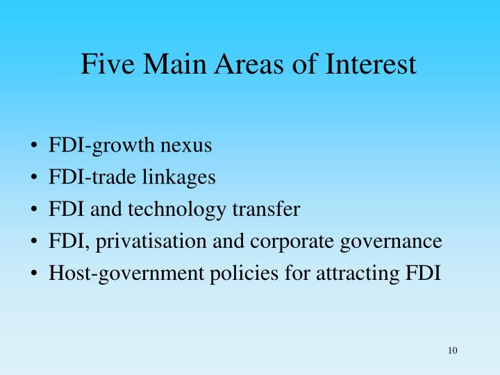 Five Main Areas of Interest