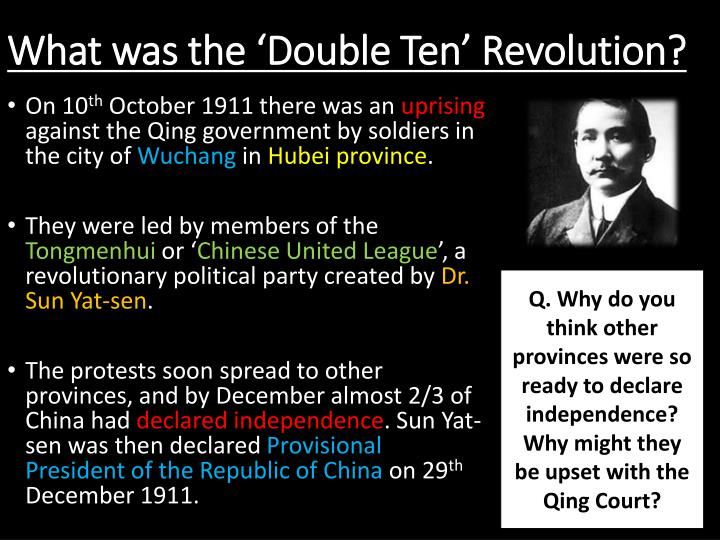 What was the double ten revolution
