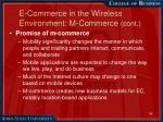 e commerce in the wireless environment m commerce cont