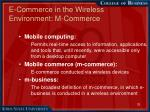 e commerce in the wireless environment m commerce