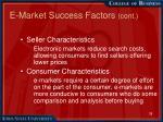 e market success factors cont