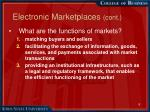 electronic marketplaces cont