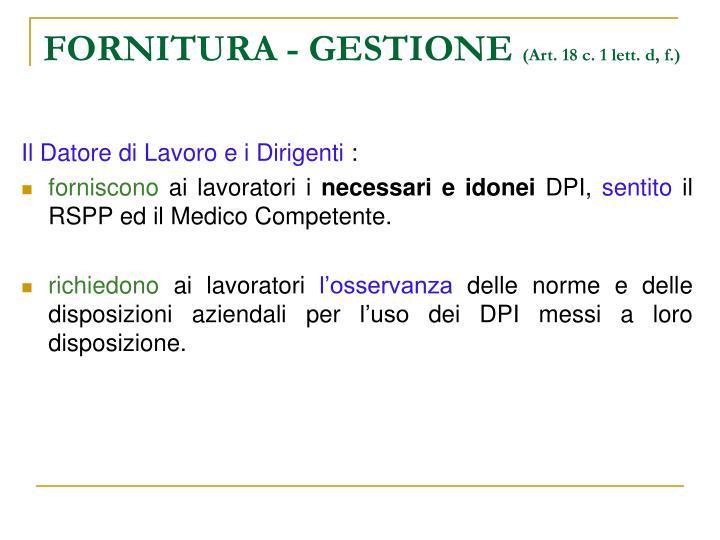 FORNITURA - GESTIONE