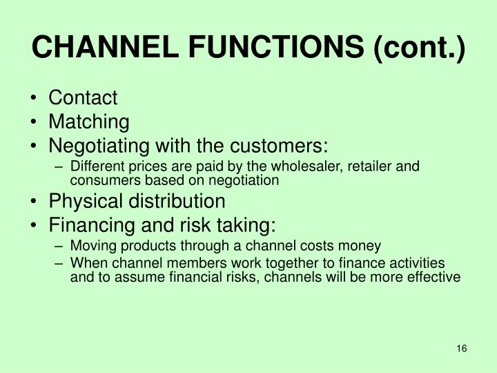 CHANNEL FUNCTIONS (cont.)