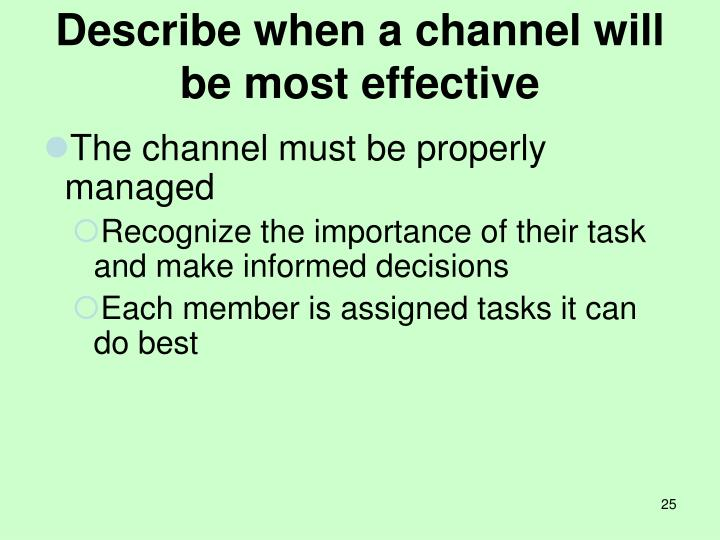 Describe when a channel will be most effective