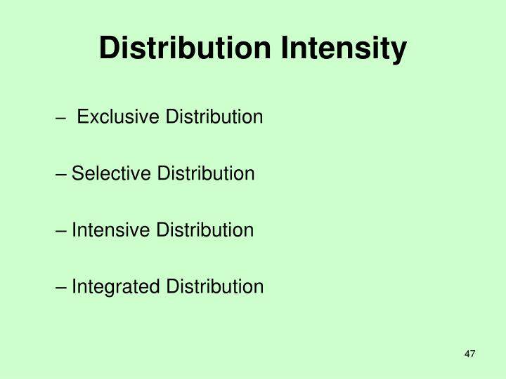 Distribution Intensity