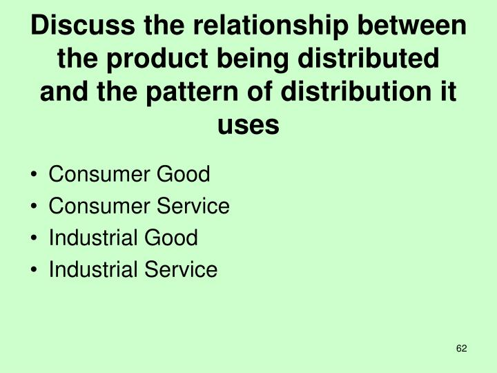 Discuss the relationship between the product being distributed and the pattern of distribution it uses