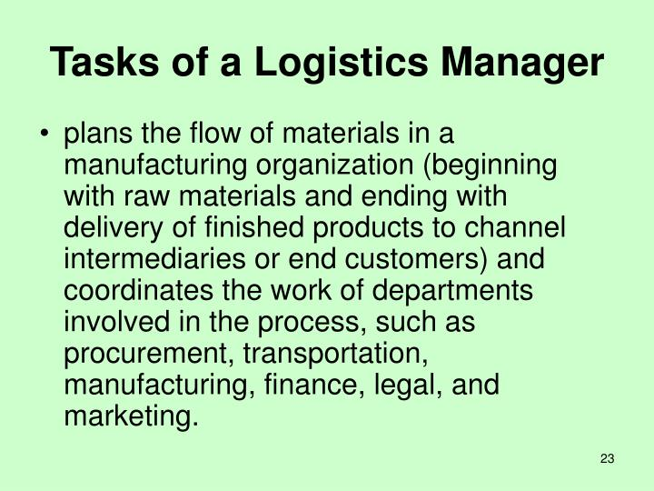 Tasks of a Logistics Manager