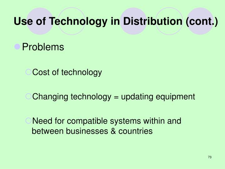 Use of Technology in Distribution (cont.)