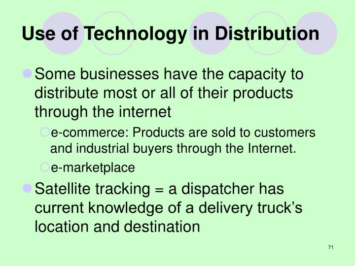 Use of Technology in Distribution