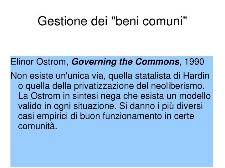 """Gestione dei """"beni comuni"""""""