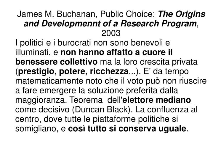 James M. Buchanan, Public Choice: