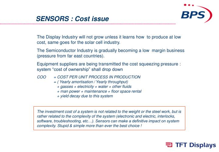 SENSORS : Cost issue