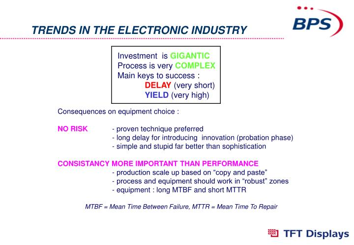 TRENDS IN THE ELECTRONIC INDUSTRY