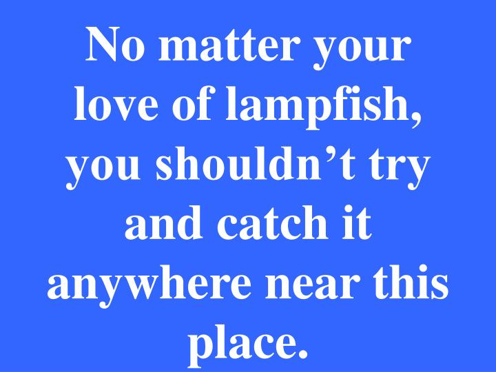 No matter your love of lampfish, you shouldn't try and catch it anywhere near this place.