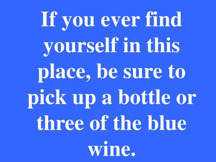 If you ever find yourself in this place, be sure to pick up a bottle or three of the blue wine.
