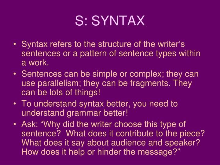 S: SYNTAX