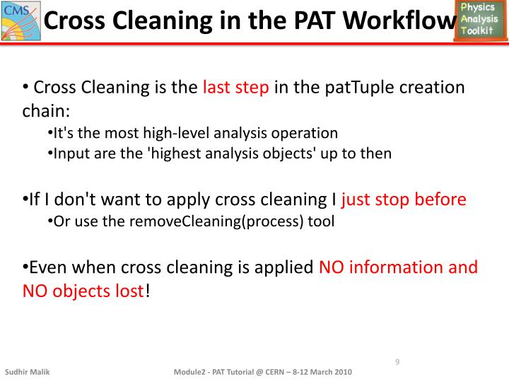 Cross Cleaning in the PAT Workflow