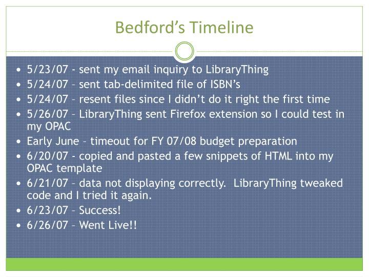 Bedford's Timeline