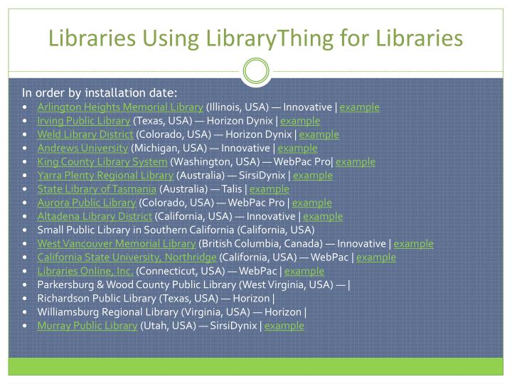 Libraries Using LibraryThing for Libraries