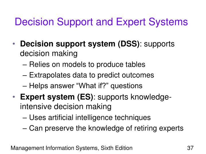 Decision Support and Expert Systems