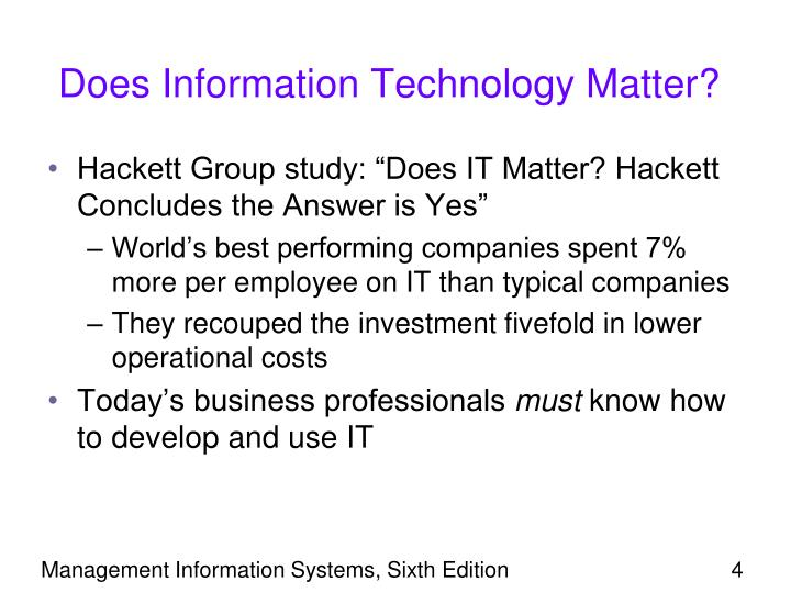 Does Information Technology Matter?