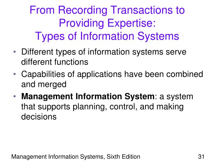 From Recording Transactions to Providing Expertise:                       Types of Information Systems