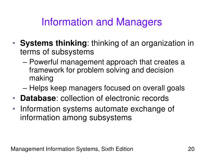 Information and Managers