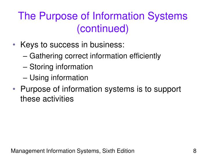 The Purpose of Information Systems (continued)