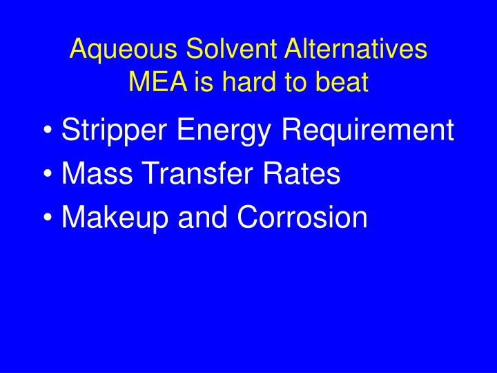Aqueous Solvent Alternatives