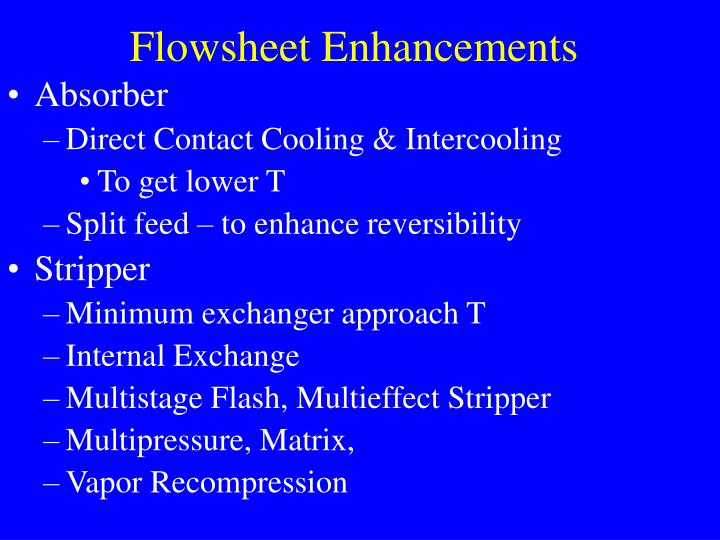 Flowsheet Enhancements