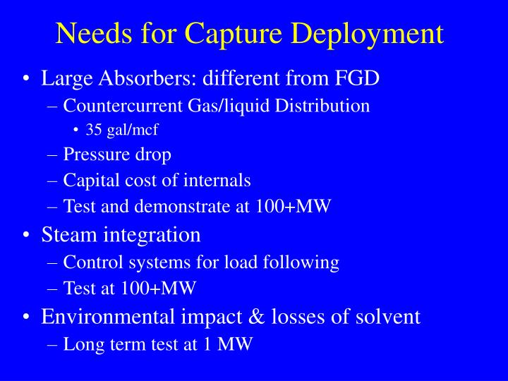 Needs for Capture Deployment