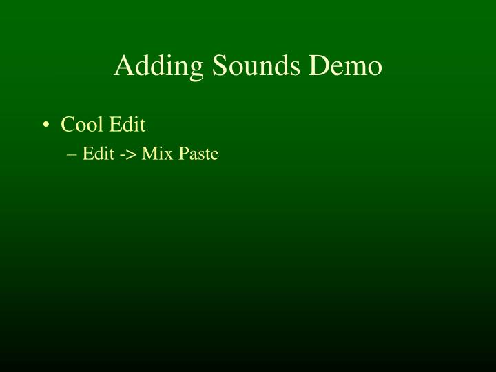 Adding Sounds Demo
