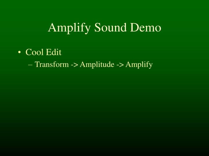 Amplify Sound Demo
