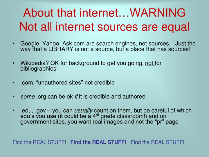 About that internet…WARNING