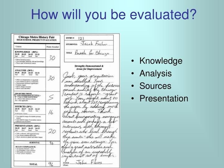 How will you be evaluated?